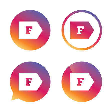 energy consumption: Energy efficiency class F sign icon. Energy consumption symbol. Gradient buttons with flat icon. Speech bubble sign. Vector