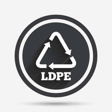 monomer: Ld-pe icon. Low-density polyethylene sign. Recycling symbol. Circle flat button with shadow and border. Vector
