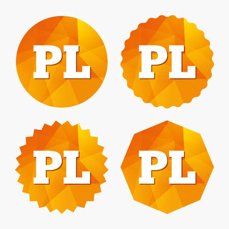 pl: Polish language sign icon. PL translation symbol. Triangular low poly buttons with flat icon. Vector