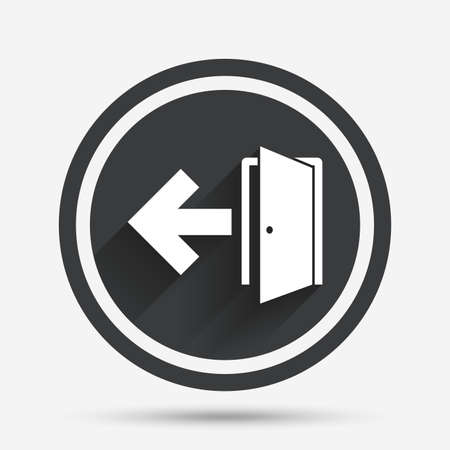 fire exit: Emergency exit sign icon. Door with left arrow symbol. Fire exit. Circle flat button with shadow and border. Vector