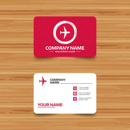 business travel: Business card template with texture. Airplane sign. Plane symbol. Travel icon. Flight flat label. Phone, web and location icons. Visiting card  Vector
