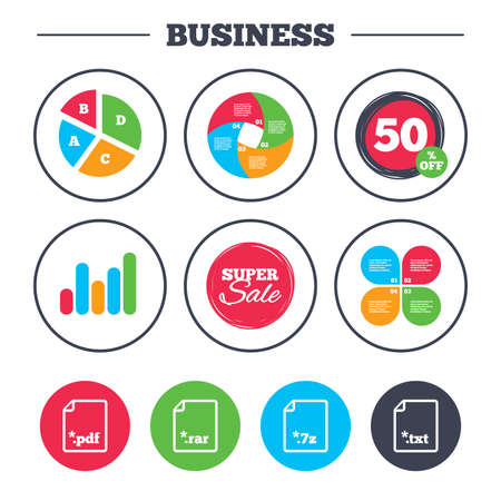 extensions: Business pie chart. Growth graph. Download document icons. File extensions symbols. PDF, RAR, 7z and TXT signs. Super sale and discount buttons. Vector