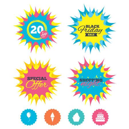 fire and ice: Shopping night, black friday stickers. Birthday party icons. Cake with ice cream signs. Air balloon with rope symbol. Special offer. Vector