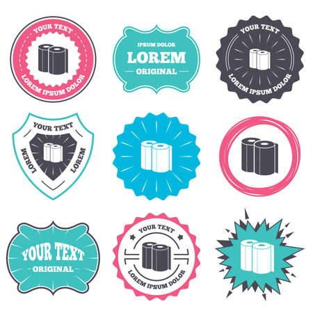 towels: Label and badge templates. Paper towels sign icon. Kitchen roll symbol. Retro style banners, emblems. Vector