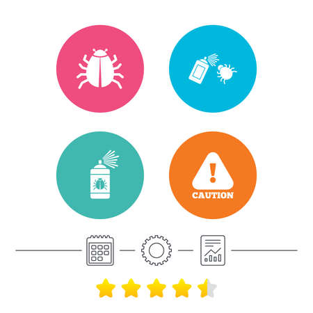 Bug disinfection icons. Caution attention symbol. Insect fumigation spray sign. Calendar, cogwheel and report linear icons. Star vote ranking. Vector