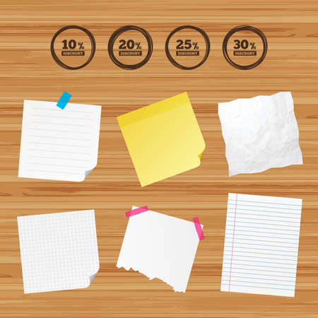 Business paper banners with notes. Sale discount icons. Special offer price signs. 10, 20, 25 and 30 percent off reduction symbols. Sticky colorful tape. Vector