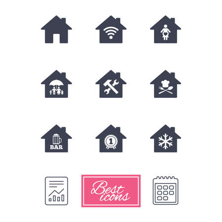 air hammer: Real estate icons. Home insurance, maternity hospital and wifi internet signs. Restaurant, service and air conditioning symbols. Report document, calendar icons. Vector