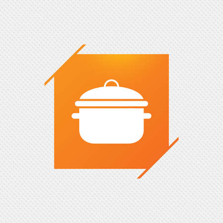 Cooking pan sign icon. Boil or stew food symbol. Orange square label on pattern. Vector