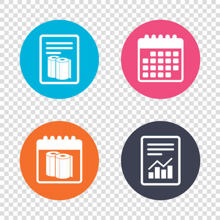 towels: Report document, calendar icons. Paper towels sign icon. Kitchen roll symbol. Transparent background. Vector