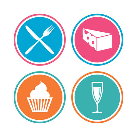 Food icons. Muffin cupcake symbol. Fork and knife sign. Glass of champagne or wine. Slice of cheese. Colored circle buttons. Vector