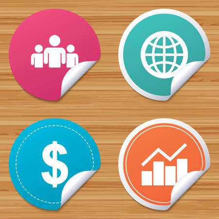 bended: Round stickers or website banners. Business icons. Graph chart and globe signs. Dollar currency and group of people symbols. Circle badges with bended corner. Vector