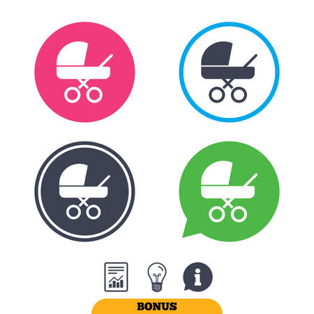 buggy: Baby pram stroller sign icon. Baby buggy. Baby carriage symbol. Report document, information sign and light bulb icons. Vector