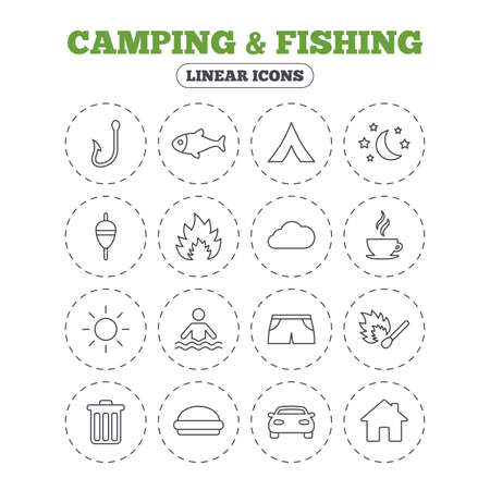 fish fire: Camping and fishing icons. Tourist tent, fire and match symbols. Coffee cup and hamburger. Car and house. Fish, hook and float bobber thin outline signs. Round flat buttons with linear icons. Vector