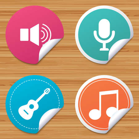 sound speaker: Round stickers or website banners. Musical elements icons. Microphone and Sound speaker symbols. Music note and acoustic guitar signs. Circle badges with bended corner. Vector