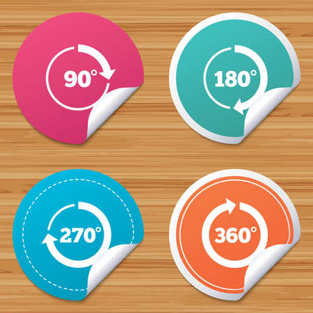 bended: Round stickers or website banners. Angle 45-360 degrees circle icons. Geometry math signs symbols. Full complete rotation arrow. Circle badges with bended corner. Vector Illustration