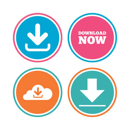 remote server: Download now icon. Upload from cloud symbols. Receive data from a remote storage signs. Colored circle buttons. Vector
