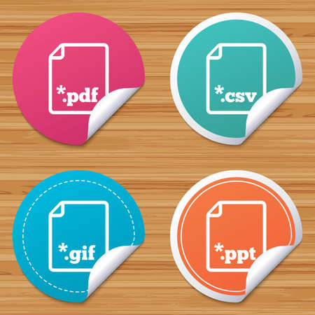 tabular: Round stickers or website banners. Download document icons. File extensions symbols. PDF, GIF, CSV and PPT presentation signs. Circle badges with bended corner. Vector