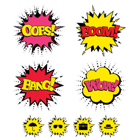 business case: Comic Boom, Wow, Oops sound effects. Clothing accessories icons. Umbrella and sunglasses signs. Headdress hat with business case symbols. Speech bubbles in pop art. Vector