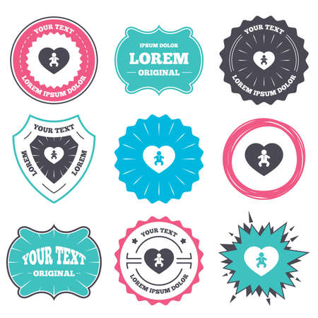 crawlers: Label and badge templates. Love Baby infant sign icon. Toddler boy in pajamas or crawlers body symbol. Child WC toilet. Retro style banners, emblems. Vector