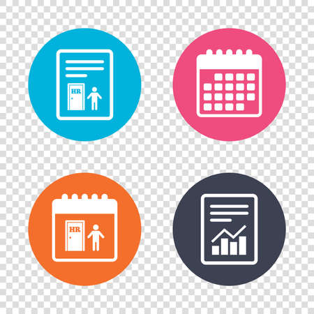 Report Document Calendar Icons Human Resources Sign Icon Hr