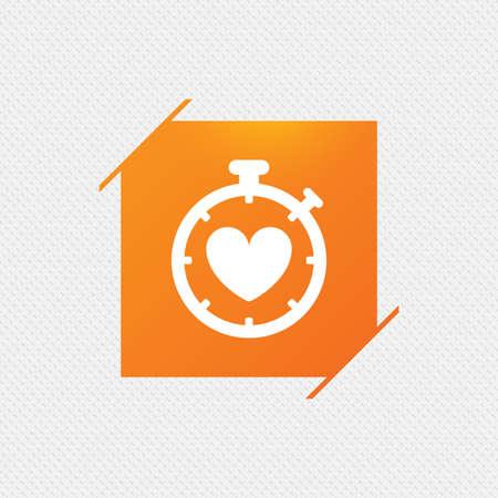 palpitation: Heart Timer sign icon. Stopwatch symbol. Heartbeat palpitation. Orange square label on pattern. Vector Illustration