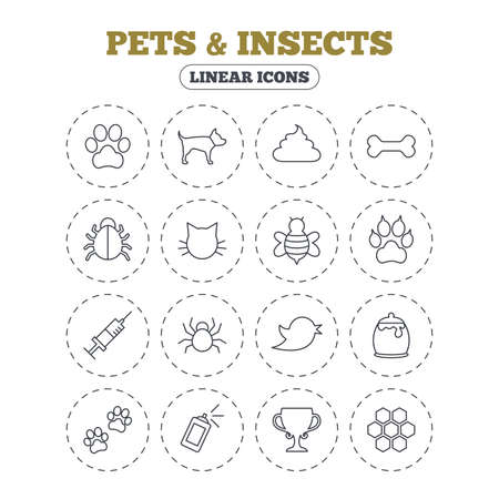 feces: Pets and Insects icons. Dog paw. Cat paw with clutches. Bone, feces excrement and vaccination. Honey, bee and honey comb. Round flat buttons with linear icons. Vector