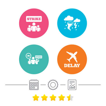 bad weather: Strike icon. Storm bad weather and group of people signs. Delayed flight symbol. Calendar, cogwheel and report linear icons. Star vote ranking. Vector Illustration