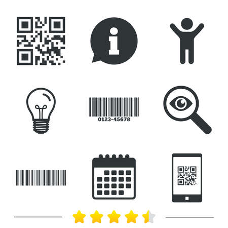 Bar and Qr code icons. Scan barcode in smartphone symbols. Information, light bulb and calendar icons. Investigate magnifier. Vector Illustration