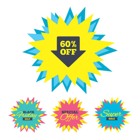 Sale stickers and banners. 60% sale arrow tag sign icon. Discount symbol. Special offer label. Star labels. Vector Illustration
