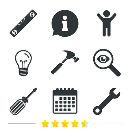 bubble level: Screwdriver and wrench key tool icons. Bubble level and hammer sign symbols. Information, light bulb and calendar icons. Investigate magnifier. Vector