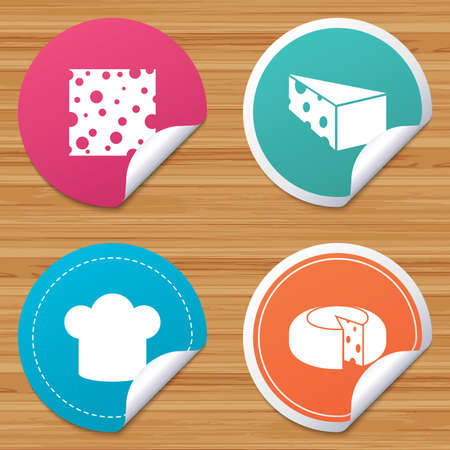 bended: Round stickers or website banners. Cheese icons. Round cheese wheel sign. Sliced food with chief hat symbols. Circle badges with bended corner. Vector