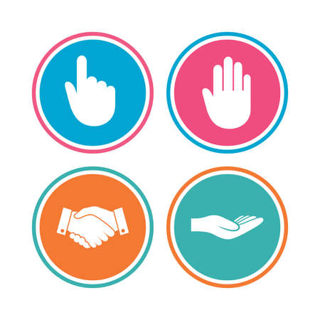hand colored: Hand icons. Handshake successful business symbol. Click here press sign. Human helping donation hand. Colored circle buttons. Vector