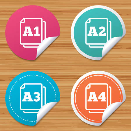 a2: Round stickers or website banners. Paper size standard icons. Document symbols. A1, A2, A3 and A4 page signs. Circle badges with bended corner. Vector