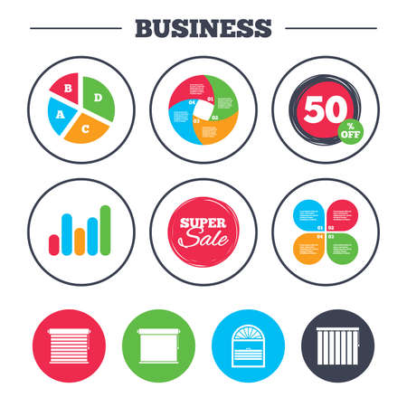 Business pie chart. Growth graph. Louvers icons. Plisse, rolls, vertical and horizontal. Window blinds or jalousie symbols. Super sale and discount buttons. Vector Illustration