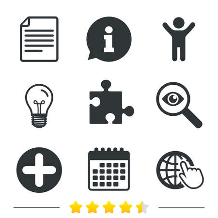 puzzle globe: Plus add circle and puzzle piece icons. Document file and globe with hand pointer sign symbols. Information, light bulb and calendar icons. Investigate magnifier. Vector