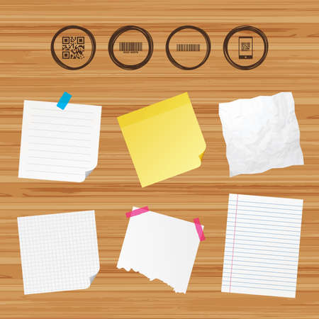 scanned: Business paper banners with notes. Bar and Qr code icons. Scan barcode in smartphone symbols. Sticky colorful tape. Vector Illustration
