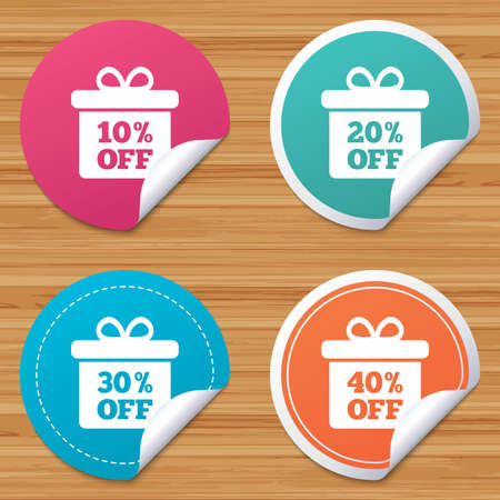 ten best: Round stickers or website banners. Sale gift box tag icons. Discount special offer symbols. 10%, 20%, 30% and 40% percent off signs. Circle badges with bended corner. Vector