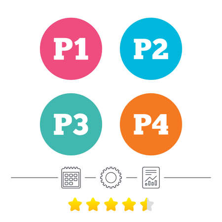 second floor: Car parking icons. First, second, third and four floor signs. P1, P2, P3 and P4 symbols. Calendar, cogwheel and report linear icons. Star vote ranking. Vector