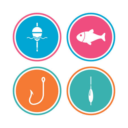 bobber: Fishing icons. Fish with fishermen hook sign. Float bobber symbol. Colored circle buttons. Vector