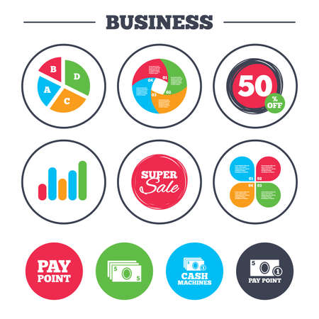 withdrawals: Business pie chart. Growth graph. Cash and coin icons. Cash machines or ATM signs. Pay point or Withdrawal symbols. Super sale and discount buttons. Vector