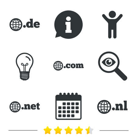 nl: Top-level internet domain icons. De, Com, Net and Nl symbols with globe. Unique national DNS names. Information, light bulb and calendar icons. Investigate magnifier. Vector Illustration