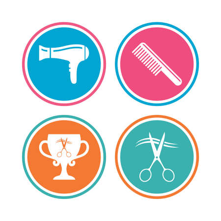 comb hair: Hairdresser icons. Scissors cut hair symbol. Comb hair with hairdryer symbol. Barbershop winner award cup. Colored circle buttons. Vector Illustration