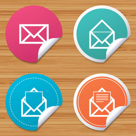 bended: Round stickers or website banners. Mail envelope icons. Message document symbols. Post office letter signs. Circle badges with bended corner. Vector Illustration
