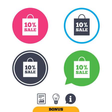 ten best: 10% sale bag tag sign icon. Discount symbol. Special offer label. Report document, information sign and light bulb icons. Vector Illustration