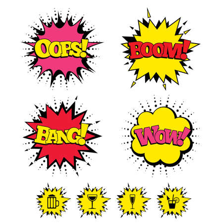 champagne pop: Comic Boom, Wow, Oops sound effects. Alcoholic drinks icons. Champagne sparkling wine with bubbles and beer symbols. Wine glass and cocktail signs. Speech bubbles in pop art. Vector