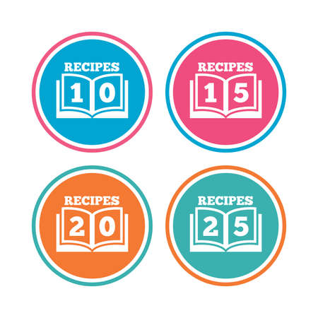 15 to 20: Cookbook icons. 10, 15, 20 and 25 recipes book sign symbols. Colored circle buttons. Vector
