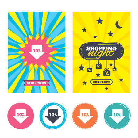 ten best: Sale banners, online shopping. 10% sale arrow tag sign icon. Discount symbol. Special offer label. Shopping night. Vector