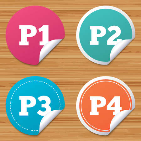 second floor: Round stickers or website banners. Car parking icons. First, second, third and four floor signs. P1, P2, P3 and P4 symbols. Circle badges with bended corner. Vector