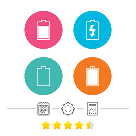 energy ranking: Battery charging icons. Electricity signs symbols. Charge levels: full, empty. Calendar, cogwheel and report linear icons. Star vote ranking. Vector Illustration