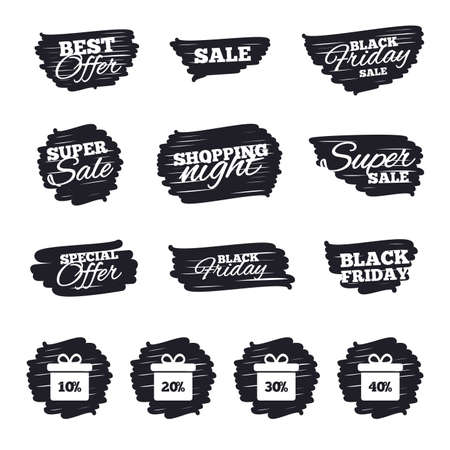 ten best: Ink brush sale stripes and banners. Sale gift box tag icons. Discount special offer symbols. 10%, 20%, 30% and 40% percent discount signs. Black friday. Ink stroke. Vector